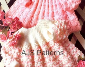 PDF Vintage Knitting  Pattern for Sweet Babies Angel Top Dresses - Instant Download
