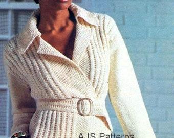 Knitting Pattern Gilet Aran : PDF Knitting Pattern for a Cabled Ladies Aran Waistcoat/Gilet