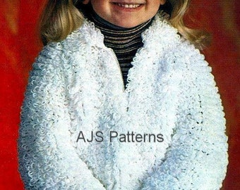 "PDF Knitting Pattern - Childs Loop or Loopy Stitch Jacket to Fit 21-26"" Chests - Instant Download"