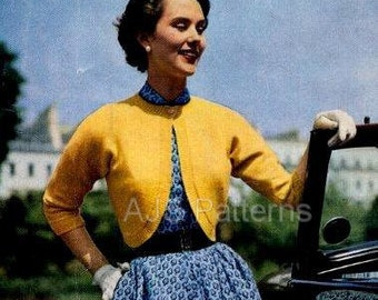 PDF Knitting Pattern for Two Dolman Sleeved 1950's Boleros