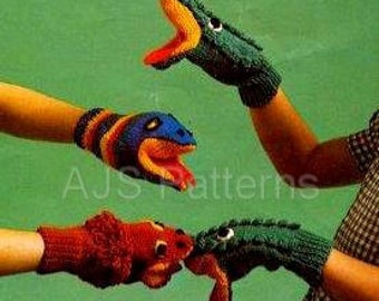 PDF Knitting Pattern for Childrens Fun Crocodile Lion and Snake Puppet Mittens - Instant Download