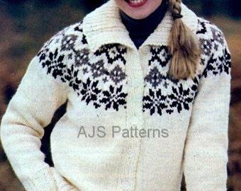 PDF Knitting Pattern Ladies Fair Isle/Nordic Jacket and Matching Hat Set - Instant Download