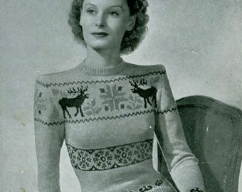 PDF Knitting pattern for a Reindeer/Stag Fair Isle Jumper - 1940's - Instant Download