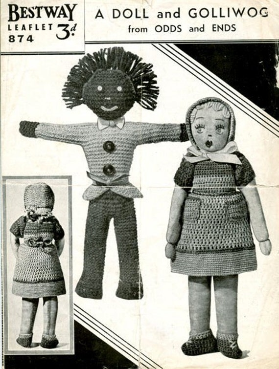 Knitted Golliwog Pattern : Items similar to PDf Knitting Pattern for a 1930s Golliwog and Doll on Etsy