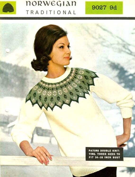 PDF Knitting Pattern for Norwegian/Scandanavian Bridal Yoked Sweater - Instant Download