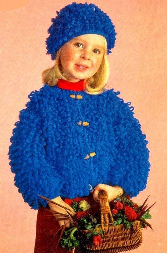 PDF Knitting Pattern for a Childs Loop Stitch Jacket