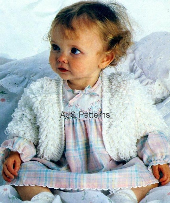 Knitting Pattern For Baby Loopy Jacket : PDF Knitting Pattern Babies Loop or Loopy by TheKnittingSheep