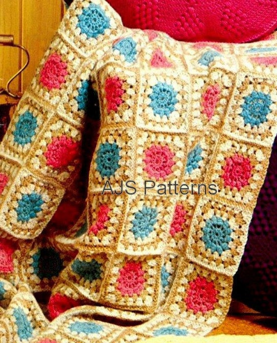 Crochet Granny Square Rug Patterns : PDF Crochet Pattern for an Afghan Throw or Rug in Patchwork