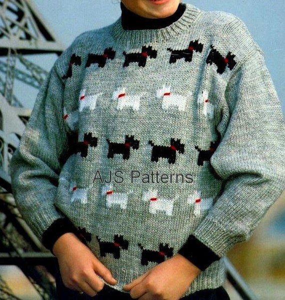 Knitting Pattern Westie Dog : PDF Knitting Pattern for a Childs Westie & by TheKnittingSheep