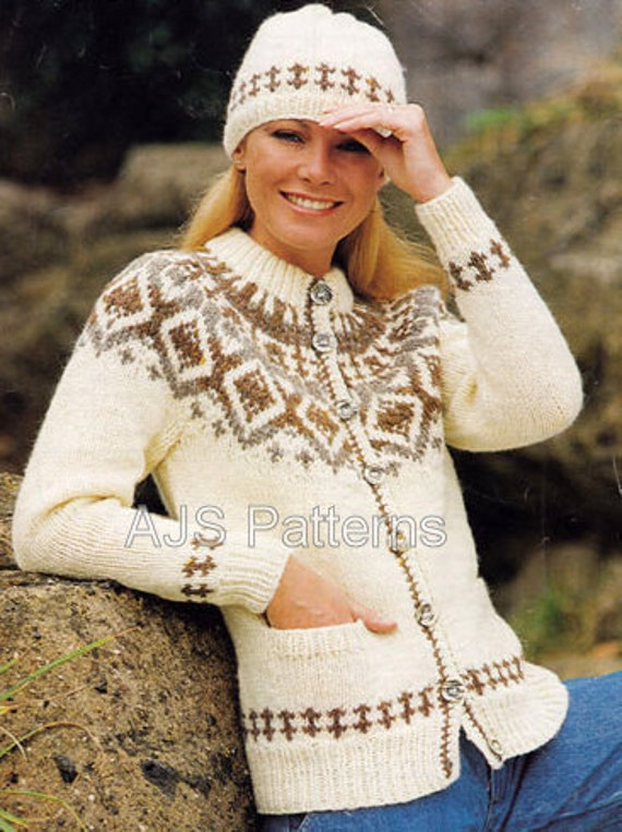 PDF Knitting Pattern Ladies Chunky Knit Fair Isle or Nordic Jacket and