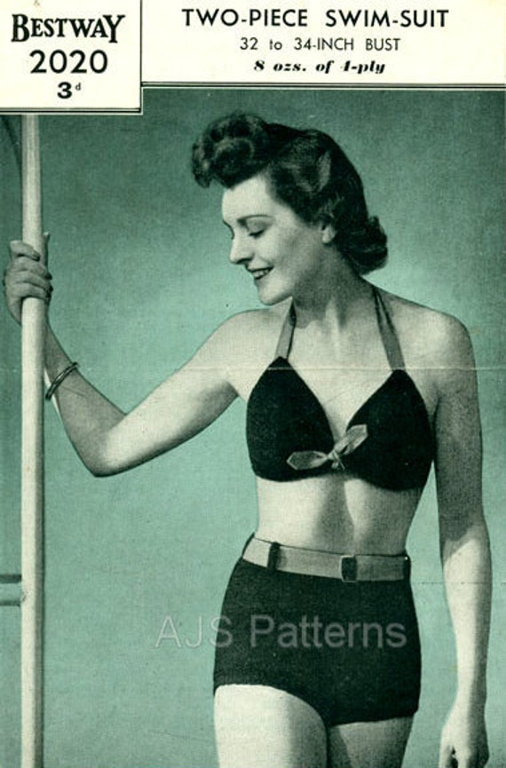 PDF Knitting Pattern for a 1940s Bikini in a Fabulous Shorts and Halter Bra- ...