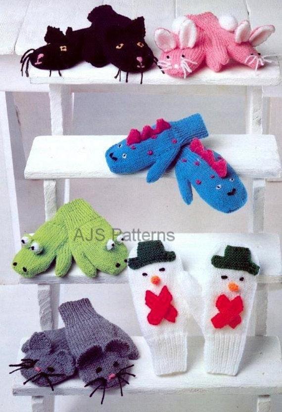Knitting Pattern For Snowman Mittens : PDF Knitting Pattern for Childrens Novelty Play Mittens in