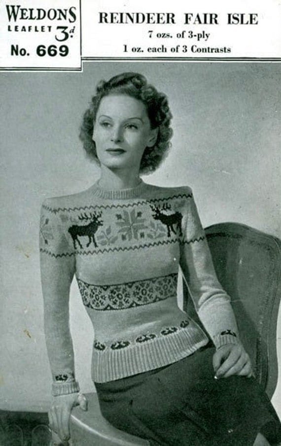 PDF Knitting pattern for a Reindeer fair Isle Jumper - 1940's - Instant Download