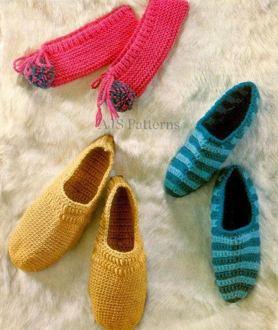 Knitting Pattern Central Men s Slippers : PDF Knitting & Crochet Pattern For Mens and Womens House