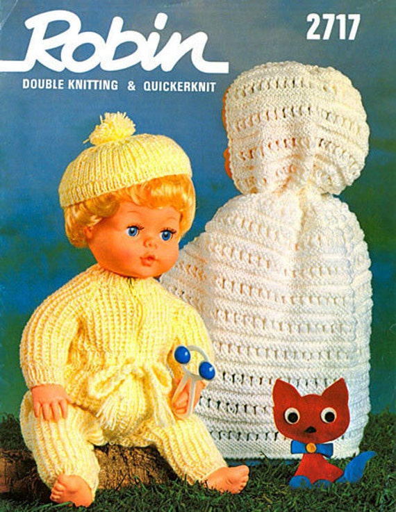 """PDF Knitting Pattern -  Pretty Baby Dolls Clothes Set to Fit Tiny Tears and Dolls of  16"""" - Instant Download"""