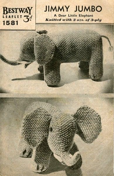 PDF Knitting Pattern for a 1930s Jimmy Jumbo Elephant