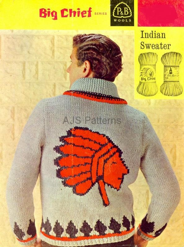 PDF Knitting Pattern For Mans Red Indian/Native American