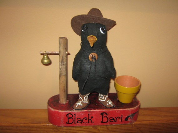 """Paper Mache Crow named """"Black Bart"""" Ready to Ship - SALE"""