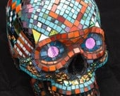 RESERVED for blugirl111 Life-size Mosaic Skull with dichroic glass accents