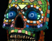 Mosaic Skull Face, hangs on the wall like a  mask. Decorative. Day of the Dead.