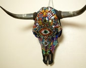 Mosaic Steer Skull made with Handcut Dichroic and Stained Glass Tiles. Original, OOAK.