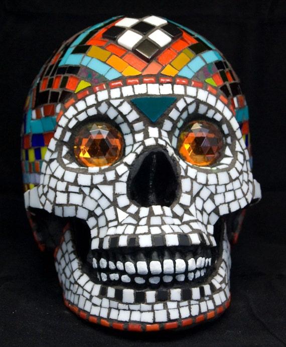 RESERVED for blugirl111  Life size Mosaic Dia de los Muertos Skull