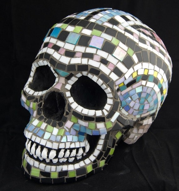 Sugar Skull, Day of the Dead, Stained Glass Mosaic. Life Size, Pink, white, blue. Featured in 45 treasuries and counting.