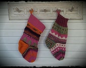 JUST 4 YOU Handknit Wool Christmas Stocking