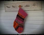 ANthroPoloGie Custom Handknit Christmas Stocking Pink Orange Purple Green