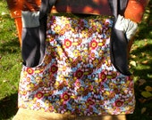 Carry-all Tote Bright Floral & Gray Corduroy