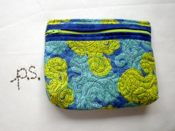 Vibrant Green and Blue Quilted Cosmetic Pouch