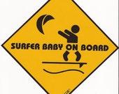 Surfer Baby on Board 15cm x 15cm sticker