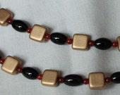 Double Strand Necklace Egyptian Motif - Onyx & Carnelian