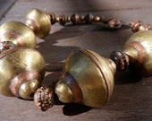 Tuareg Bead Choker: Tribal Brass and Copper Etched Beads - OOAK