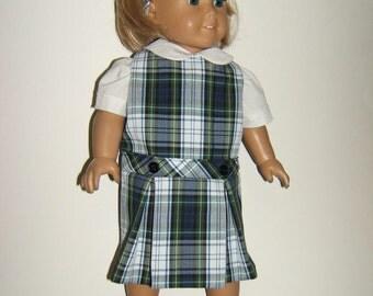 18 inch Doll Uniform Jumper Plaid 80 or White Plaid (LE)