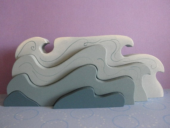 Kids Wooden Toy Stacker Waves