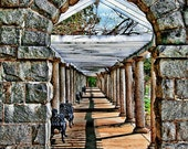 Beautiful Garden Pathway with Stone Arch and Columns