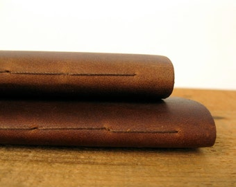 """Leather Notebooks / Pocket Size Leather Journals, Set of 2,  the """"Pascale"""""""