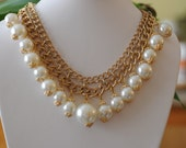Chunky Dangle Pearl Necklace