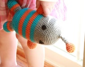Orange and Teal Amigurumi Robot