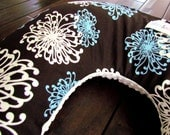 Boppy Style Pillow Cover- Rich Chocolate with Teal and White Floral Bursts with White Minky Dot- READY TO SHIP