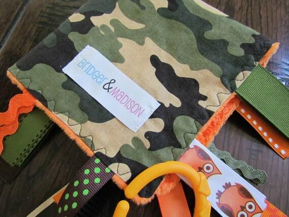 Jungle Camo Ribbon Sensory Blanket with Hunter Orange Accents and Orange Minky Dot- READY TO SHIP