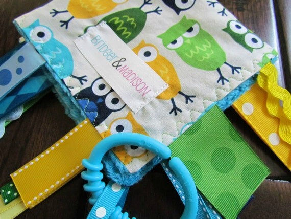 Ribbon Sensory Baby Blanket in Funky Blue Owls with Turquoise Minky Dot- READY TO SHIP