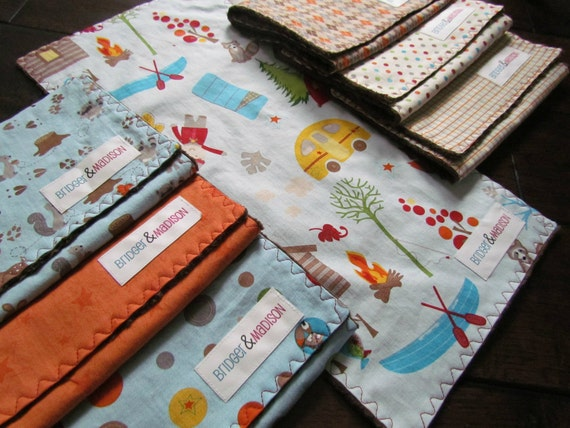 Baby Burp Cloths, Set of Seven-  Winter Camp Out with Chocolate Brown Minky  - READY TO SHIP
