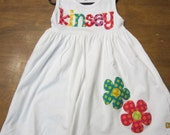 Girls Short or Long Sleeve Appliqued Name Dress with Flowers any size 3-6 month to 4 toddler
