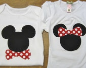 Mickey Minnie Matching Brother/Sister Shirts or bodysuits any size newborn to 6 toddler