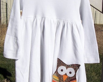 Girls Appliqued Owl Dress any size 3-6 month to 6 Long sleeve or sleeveless
