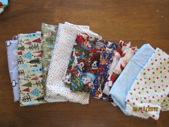 SALE Fabric Destash HUGE lot Christmas fabric pieces CLEARANCE