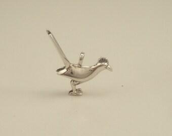 silver roadrunner pendant/ charm