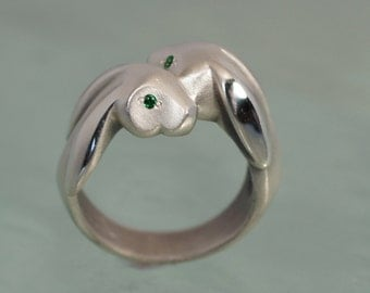 bunny love ring, silver , colored stone eyes